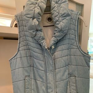 Anthropologie Chambray puffer vest.